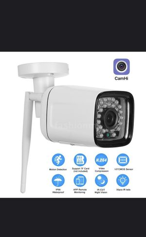 1080P HD Bullet WIFI Camera Weatherproof wireless IP Camera 2.0MP 30pcs Infrared LED Lights Support phone App control motion detection night vision f for Sale in Dallas, TX