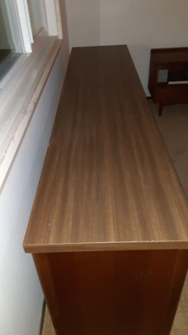 Lg desk, console, mid century