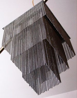 Unique, designer stainless steel curtain ceiling lamp, like new, H15xW9 inch for Sale in Chandler, AZ
