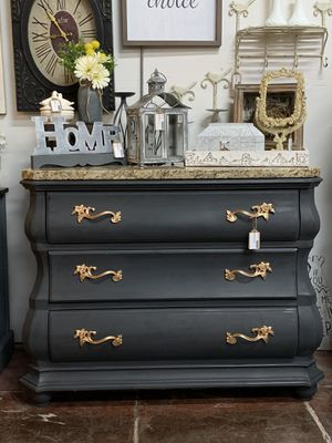 Newly refinished dark matte grey / black curved dresser with granite top for Sale in Sumner, WA