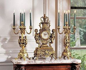 Antique brass clock and candelabra for Sale in Boca Raton, FL