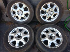 Mercedes chrome 16 inch rims with old tires. 5 on 112 lugs for Sale in Montebello, CA