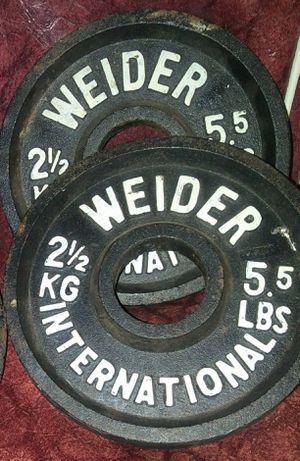 Pair of Vintage Weider International Olympic Weight Plates 2 1/2 kg (5.5 lbs), Gym Weightlifting Dumbbells / Barbells, Pre-Owned, Authentic (2 Pieces) for Sale in Los Angeles, CA