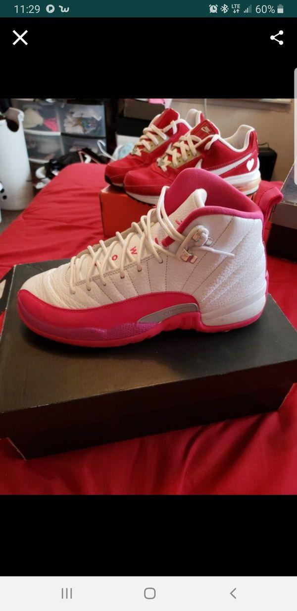Jordan 12's white & pink