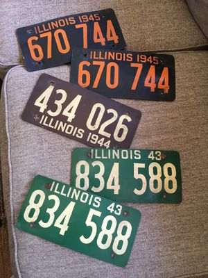 5- license plates made of soy bean when metal was scarce during the war 1943, 44, 45 $25 each or all five for $100 firm for Sale in Varna, IL