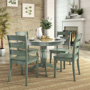 Lexington 5-Piece Wood Dining Round Table and 4 Ladder Back Chairs, Dark Sea Green for Sale in Houston, TX