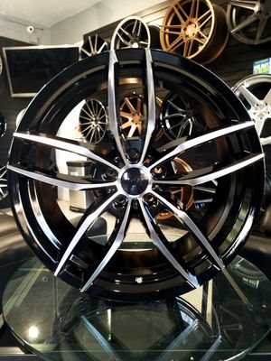 PRICE PER WHEEL 19X8.5 AND 19X9.5 5X114 ET35 Black machine face wheels rims for Sale in Tempe, AZ