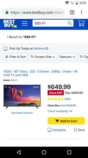 """65""""vizio 4k HDR Smart E65-f1 for Sale in Abilene, TX"""