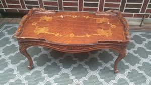 Antique Table with Custom Cut Glass Top. for Sale in Atlanta, GA