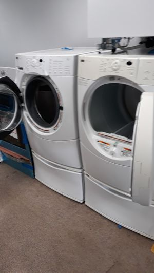 White front load washer and dryer set excellent condition for Sale in Maryland City, MD