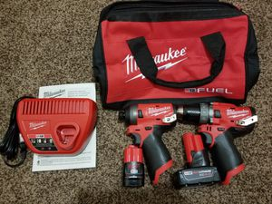 Milwaukee M12 FUEL 12-Volt Lithium-Ion Brushless Cordless Hammer Drill and Impact Driver Combo Kit for Sale in Modesto, CA