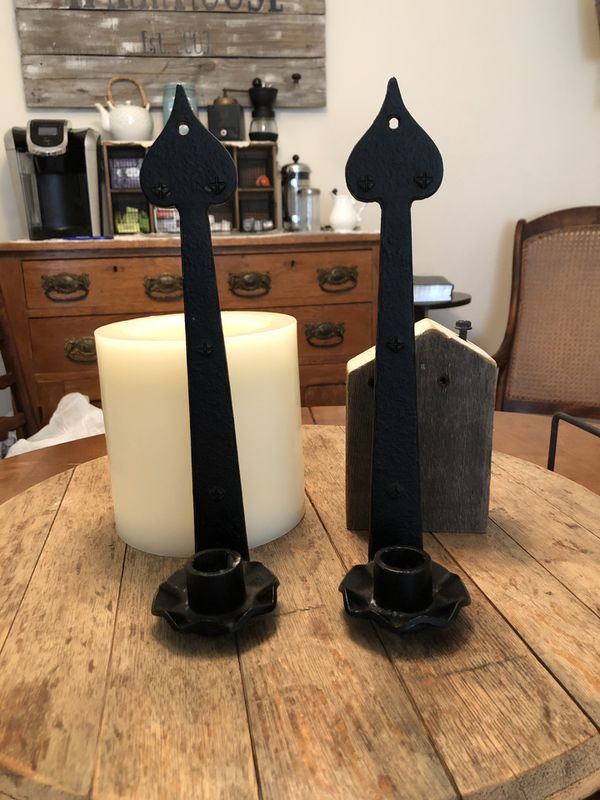 Set Of Rod Iron Candle Stick Holder With New Candles