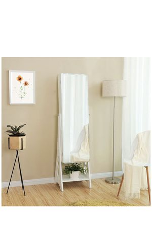 8 LEDs Jewelry Cabinet with Bevel Edge Mirror Lockable Standing Armoire Organizer with 6 Drawers and Earring Board white for Sale in Eastvale, CA