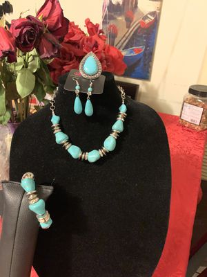 New jewelry set 4pcs color blue: necklace, bracelet, earrings and ring for Sale in Orange, CA