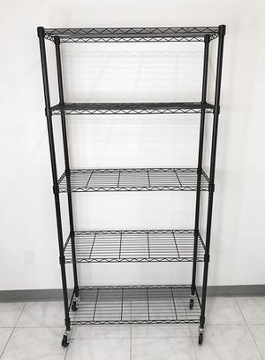 "(NEW) $70 Metal 5-Shelf Shelving Storage Unit Wire Organizer Rack Adjustable w/ Wheel Casters 36x14x74"" for Sale in Whittier, CA"