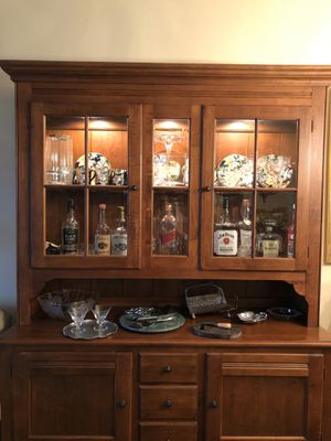 $940.00. Ethan Allen solid wood China Cabinet. Bar Cabinet. Dining Table Hutch Dining Buffet Display kitchen cabinet for Sale in Boca Raton, FL