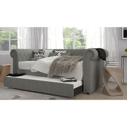 Twin Size Light Gray Linen Rolled Arm Daybed Frame for Sale in Monterey Park,  CA
