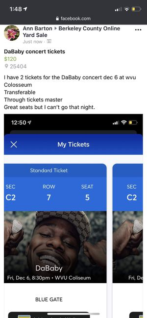 Concert tickets for DaBaby 12/6 at 8:30. for Sale in Martinsburg, WV