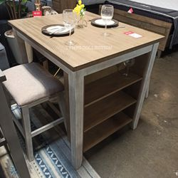 WHITE-LIGHT BROWN, COUNTER TABLE AND TWO BAR STOOL. for Sale in Santa Ana,  CA