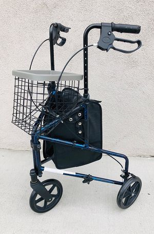 "$80 NEW Lightweight Aluminum Rollator Adult Foldable Walker Height Adjustable w/ Basket, Size: 24""x23""x37"" for Sale in Whittier, CA"