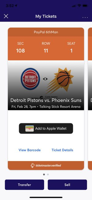 Phoenix suns vs Detroit Pistons tickets for Sale in Buckeye, AZ