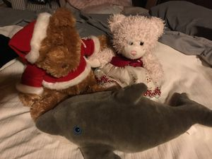One Pink Build a Bear Teddy Bear, Santa Bear and Dolphin for Sale in Spring Valley, CA