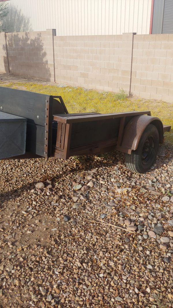 5 X 8 1/2. Trailer good tires new wiring storage box ramp that goes across the whole end. Good for for motorcycle or side by side