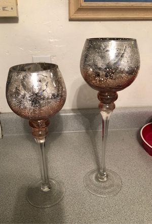Silver rose candle holders for Sale in Davie, FL