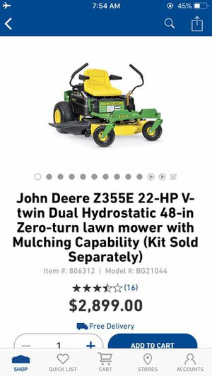 New John Deere Z355E 22-HP V-Twin Dual Hydrostatic 48-inch Zero Turn Lawn Mower for Sale in Fort Worth, TX