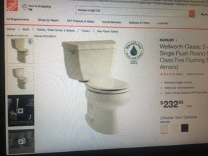 KOHLER Wellworth Classic 1.28 GPF Single Flush Round Front Toilet with Class Five Flushing Technology in Almond (only the toilet without a tank!!!) for Sale in Silver Spring, MD