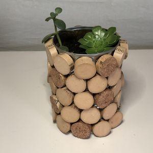 Handmade wine cork planter with succulents for Sale in Wayne, MI