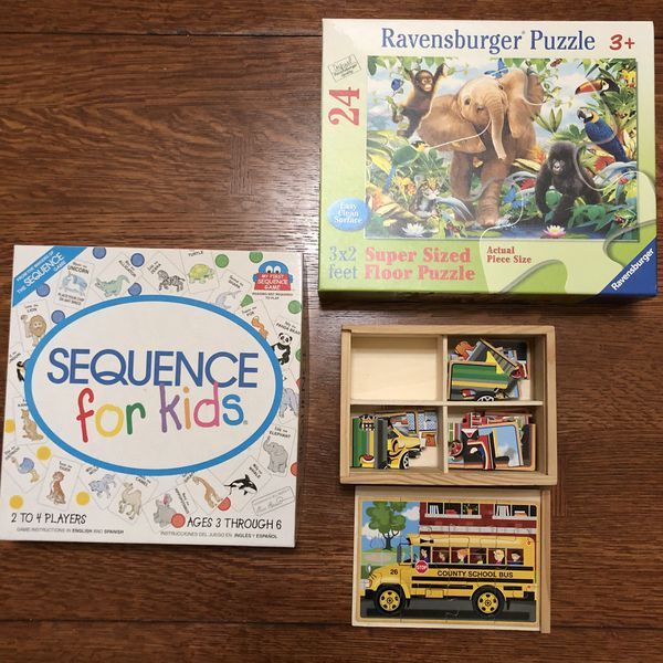 Wooden puzzles, Sequence Melissa & Doug $12 for all