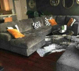 Oversized grey sectional couch 🛋 coffee table option 💕No credit check. for Sale in Houston,  TX