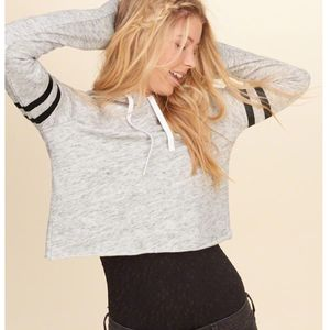 Hollister | Cropped Striped Heather Grey Hoodie- SZ M for Sale in Las Vegas, NV