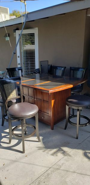 Quality high dining set with 6 stools for Sale in Anaheim, CA