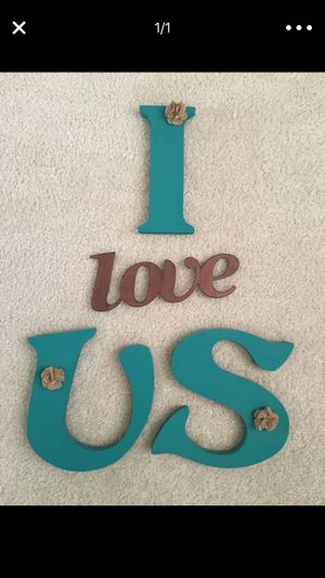 """LARGE """" I Love Us"""" Sign Turquoise 8"""" Tall Wooden Letters & 9"""" Wide Metal Love Set❗️IF POSTED THEN AVAILABLE❗️ for Sale in Plainfield, IL"""