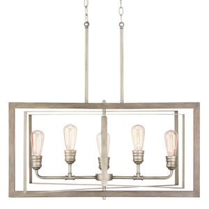 H.D.C. 5-Light Antique Nickel Linear Chandelier with Painted Weathered Gray Wood for Sale in Dallas, TX