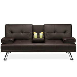 Modern Faux Leather Convertible Futon Sofa Bed Recliner Couch w/ Metal Legs, 2 Cup Holders - Brown for Sale in Columbus, OH