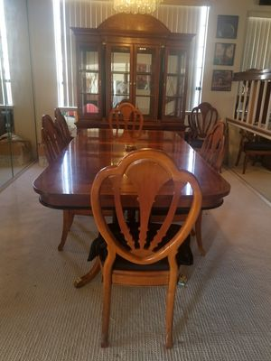 Formal dining set with six chairs and two leaves and matching China cabinet. for Sale in Industry, CA