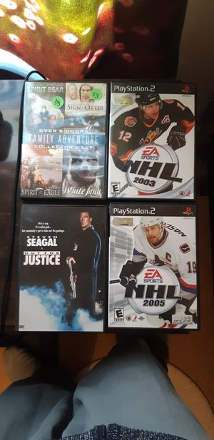 2 DVDs and 2 Playstation 2 games for Sale in Traverse City, MI