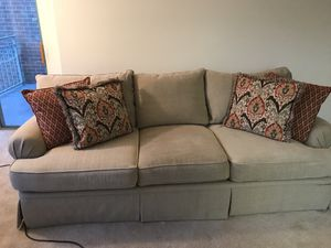 Matching Beige Couch and Oversized Chair + 5 throw pillows for Sale in Arlington, VA