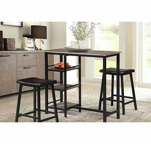 Breakfast pub table with 3 shelves comes with 2 stool ( new ) for Sale in Hayward, CA