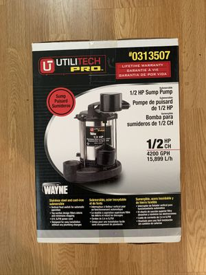 Utilitech pro sump pump for Sale in Sudbury, MA