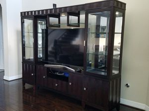 Lighted, glass shelves entertainment center for Sale in Fulshear, TX