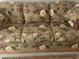 Rattan Full Size Sofa With Pullout Sleeper & Chase With Ottoman for Sale in Monroe,  MI