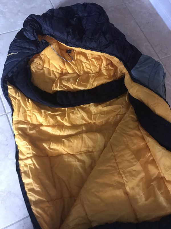 Green and black Eddie Bauer camping winter sleeping bag mummy
