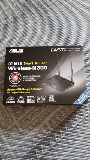 Asus RT-N12 3-in-1 Wireless-N300 router for Sale in Buffalo Grove, IL