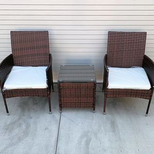"""New $130 Small 3pcs Wicker Ratten Patio Outdoor Furniture Set (Seat size 19x19"""") Assembly Required for Sale in Whittier, CA"""