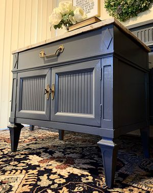 Gorgeous Newly ReDesigned Thomasville MODERN FRENCH REGENCY Marble Top GRAY Nighstand or Side Table in Superb Cond!! 27W 25H 17D for Sale in Mountain View, CA