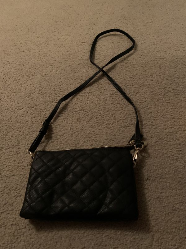 Black quilted cross body purse